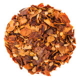 Circle of Chilli Peppers Flakes Isolated on White Background Royalty Free Stock Image