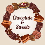 Circle of chocolate and other sweets Stock Photo