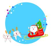 Cute cartoon tooth characters of Santa  Claus with reindeer and sleigh. Circle Christmas frame. Merry Christmas concept, illustration Stock Photography
