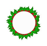 Circle with Christmas holy leaves Stock Photography