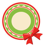 Circle Christmas Label Icon Flat with Bow Isolated on White Royalty Free Stock Photos