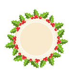 Circle Christmas Label Icon Flat with Holly Sprigs  on W Stock Photography