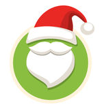 Circle Christmas Label Icon Flat with Santa Hat and Beard Isolat Stock Image