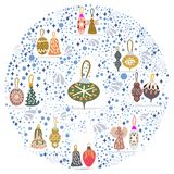 Circle with Christmas tree decorations on white background. Circle shape with Christmas tree decorations on white background. Flat style illustration. Greeting vector illustration