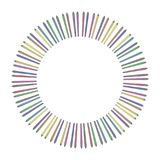 Circle circle from multi-colored colored markers or liners in a row isolated on a white background unfolded from a circle outwards. Circle circle from colored Royalty Free Stock Image