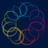 Circle on circle (vector). Illustration of painted circles in multicolor style royalty free illustration
