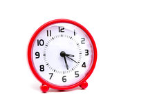 The circle clock red color on white background isolated. The circle clock red color on white background Stock Photo