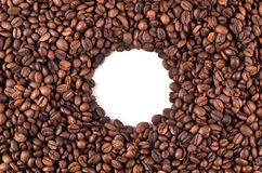 Circle of coffee beans. Background of large quantities of coffee beans Stock Photography