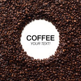 Circle coffee beans frame with copy space Royalty Free Stock Photo
