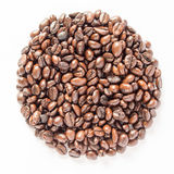 Circle coffee beans isolated white background. Circle coffee beans isolated on  white background Royalty Free Stock Image