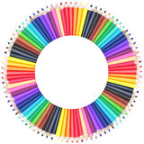 Circle color chart made of color pencils. On white background Stock Photography