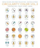 Circle Color Icons Collection - Construction, Tools, Sport and Games stock illustration
