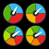 Circle Color Indicators Power Meter Set. Vector Stock Photography
