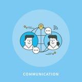 Circle color line flat design of communication, modern  illustration Stock Images