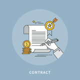 Circle color line flat design of contract, modern illustration. ! vector illustration