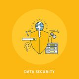 Circle color line flat design of data security, modern  illustration Royalty Free Stock Photo