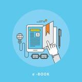 Circle color line flat design of e-book, modern  illustration Royalty Free Stock Image