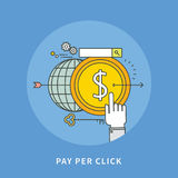 Circle color line flat design of pay per click, modern  illustration. ! Stock Photos
