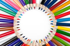 Circle from color pencils Stock Photos