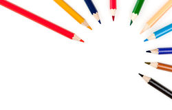 Circle from color pencils Royalty Free Stock Image