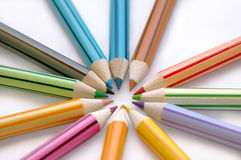 Circle of color pencils. Closeup shot royalty free stock photo