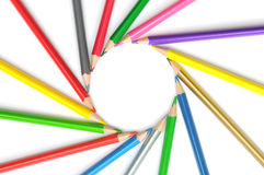Circle from color pencils Royalty Free Stock Photo
