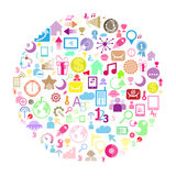 Circle Color Set of network icons Royalty Free Stock Photo