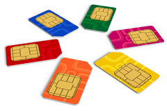 Circle from color SIM cards. Circle from six color SIM cards isolated over white background royalty free illustration