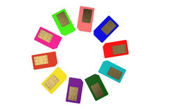 Circle from color SIM cards 2. Circle from color SIM cards isolated on white background Royalty Free Stock Images