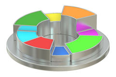 Circle colored and metallic pie chart Stock Photo
