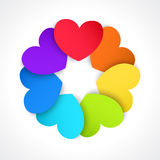 Circle of colored paper hearts Royalty Free Stock Photos