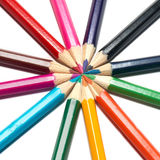 Circle of colored pencils Royalty Free Stock Images