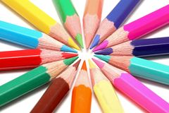 Circle of colored pencils Royalty Free Stock Image