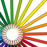 Circle of colored pencils Stock Photos