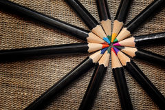 Circle of colored pencils Stock Photography