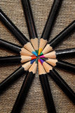 Circle of colored pencils Stock Image