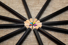 Circle of colored pencils Stock Photo