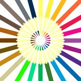 Circle of colored pencils. Royalty Free Stock Images