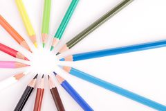 Circle of colored pencils Royalty Free Stock Photos
