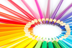 Circle of colored pencils on white background Royalty Free Stock Photos