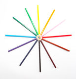 Circle of colored pencils Royalty Free Stock Photo