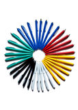 Circle of colored pens Royalty Free Stock Images