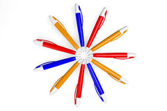 Circle of Colored Pens Stock Image