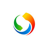 Circle colored technology arrow logo Stock Images