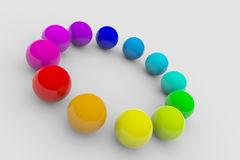 Circle of colorful balls on surface Stock Image