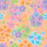Circle colorful big flower seamless pattern Stock Photo