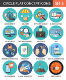 Circle Colorful Concept Icons. Flat Design. Set 5. stock illustration