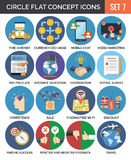 Circle Colorful Concept Icons. Flat Design. Set 7. Business and Finance, Education, Technology, Feedback, Travel Symbols and Metaphors Royalty Free Stock Photography