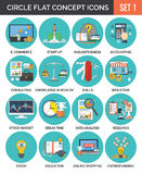 Circle Colorful Concept Icons. Flat Design. Set 1. Business, Finance, Education, Technology Symbols and Metaphors Royalty Free Stock Photo