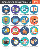 Circle Colorful Concept Icons. Flat Design. Set 6. Business and Finance, Education, Technology, Travel, Creativity, Love Symbols and Metaphors Royalty Free Stock Image